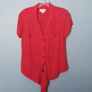 Anthropologie Maeve  Coral Button Down Top Size 4